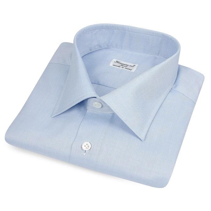 サックスブルーのセミワイドカラーシャツ