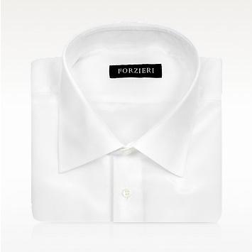 FORZIERIフォルツィエリ ホワイトピュアシルク ドレスシャツ