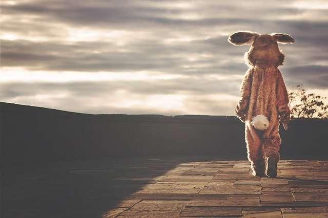 黄昏の中の人物(ウサギの着ぐるみ)